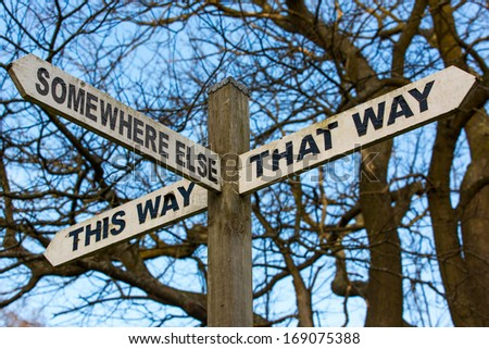 A sign post, offering a choice of generic directions #169075388