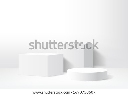 Background vector 3d gray render with podium white 3d and minimal white wall scene, minimal podium white background 3d rendering abstract stage gray. Stage render for product on white podium studio Royalty-Free Stock Photo #1690758607