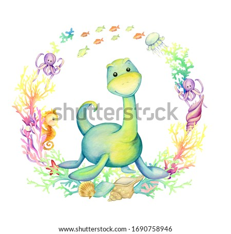 Cute dinosaur, surrounded by coral fish and shells. Watercolor frame, on an isolated background, with a prehistoric animal. Children's clip art, for greeting cards.