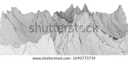 Abstract 3d wire-frame landscape. Blueprint style. Vector rendering from 3D model. Geology Terrain #1690773739