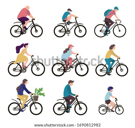 Group of people on bicycles. Male, female, kid persons riding different cycles. Vector flat style cartoon illustration.