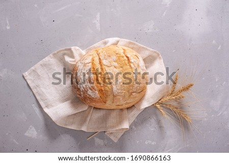 Fresh homemade crisp bread, top view. French bread. Bread at leaven. Unleavened bread. #1690866163