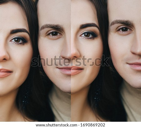 Wedding collage of two photos with faces of the bride and groom, which merge into one. Photography, concept and idea. #1690869202