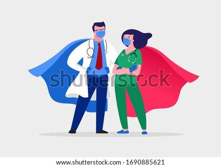 Super doctor and nurse wearing medical masks and capes, superhero couple, vector cartoon illustration #1690885621