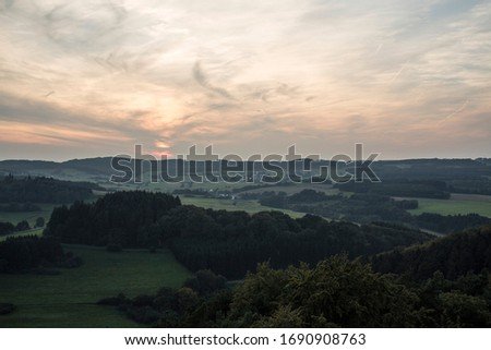 360 degree wide view on a german low mountain range Royalty-Free Stock Photo #1690908763