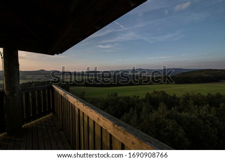 360 degree wide view on a german low mountain range Royalty-Free Stock Photo #1690908766