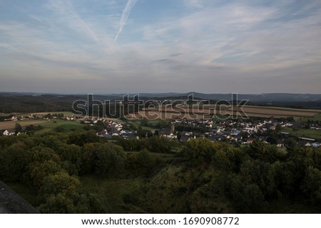 360 degree wide view on a german low mountain range Royalty-Free Stock Photo #1690908772