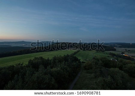 360 degree wide view on a german low mountain range Royalty-Free Stock Photo #1690908781