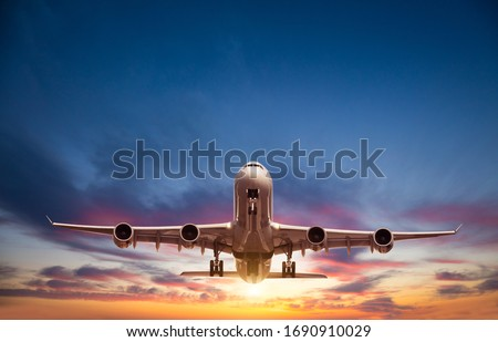 Passengers commercial airplane flying in sunset light. Concept of fast travel, holidays and business. #1690910029
