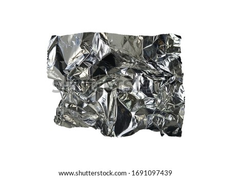A piece of aluminum foil isolated on white background. Wrinkled aluminum foil. #1691097439