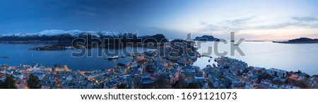 Panorama of Alesund city over Norwegian Sea at dusk, Norway #1691121073
