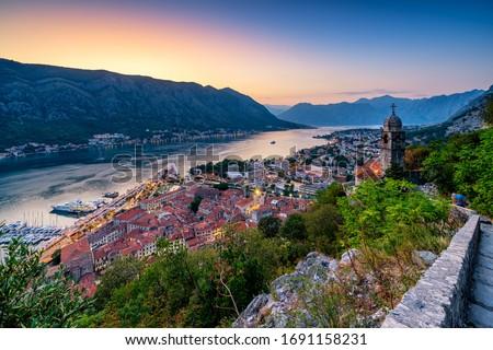 Above view of Kotor bay, Montenegro at sunset. #1691158231