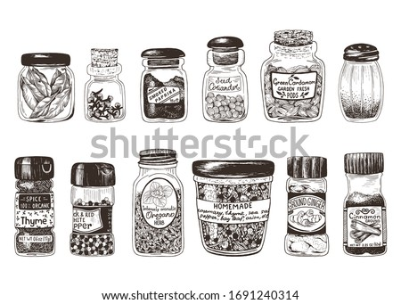 Spices in jars, hand drawn set with thyme, paprika, cinnamon, ginger, coriander, cardamom, pepper, oregano, bay leaf, clove and homemade mix spices. Vector drawing illustration in vintage style. #1691240314