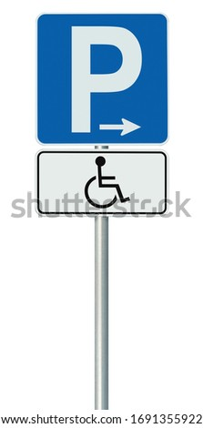 Free Handicap Disabled Parking Lot Road Sign, Isolated Handicapped Blue Badge Holders Only, White Traffic P Notice, Right Hand Arrow, Vertical Pole Post Signpost, Large Detailed Macro Closeup