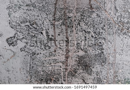 Fragment of the aged wall with a rough texture of plaster, sweats and traces of old paint as a background. Horizontal orientation. Selective focus. #1691497459