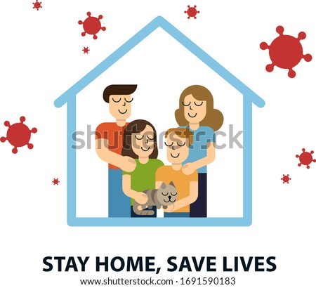 Stay at home awareness social media campaign and coronavirus prevention family smiling and staying together. Vector illustration #1691590183