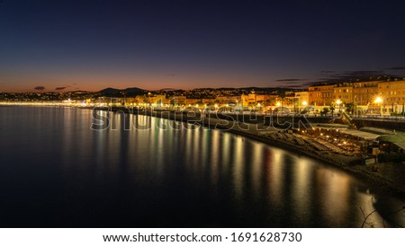 NICE, FRANCE - AUGUST 19, 2019: Evening view of Nice in Provence France. #1691628730