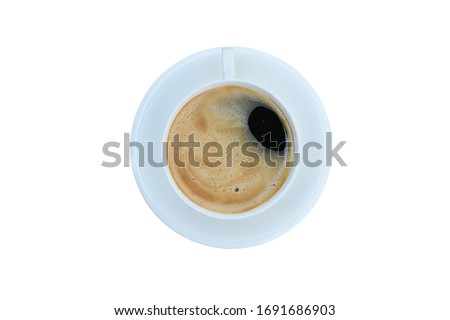 Close up,the top of the fresh coffee is in a white ceramic cup,isolate #1691686903