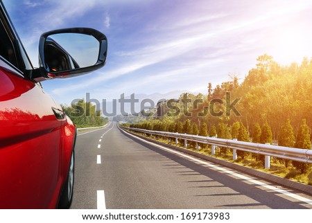 car on the road with motion blur background. #169173983
