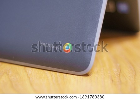 Elgin, IL - 04/02/2020: A chromebook being used at home for a remote classroom during the CoronaVirus Pandemic. #1691780380