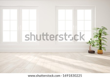 modern empty room with plants interior design. 3D illustration #1691830225