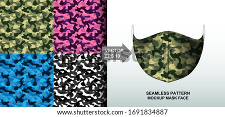 Abstract. Army camouflage pattern colorful background pattern seamless design for mask face, pillow, print, fashion, clothing, fabric, gift wrap. mockup template mask face seamless pattern. Vector. #1691834887