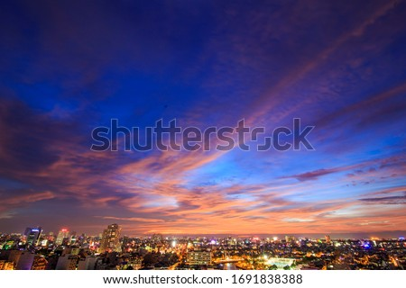 Dramatic red sky. Beautiful and colorful sunset. Royalty-Free Stock Photo #1691838388
