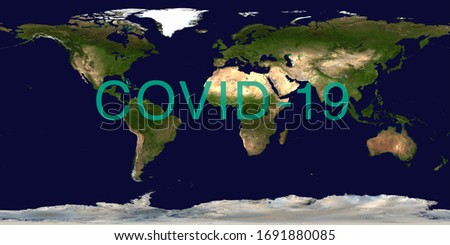 Coronavirus pandemic on world map. COVID-19 infection concept. Elements of this image furnished by NASA. #1691880085