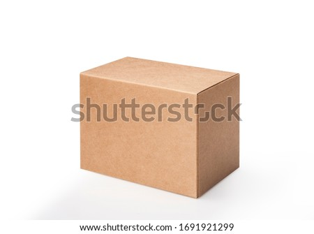 Brown cube on white background. Studio shot Royalty-Free Stock Photo #1691921299