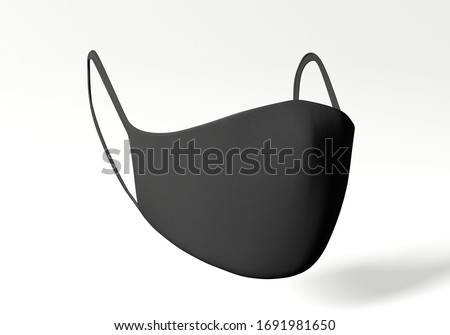 Black face mask mockup virus 3d rendering #1691981650