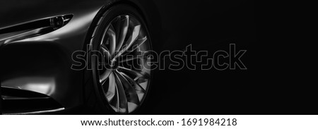 Detail on one of the LED headlights modern car on black background,copy space Royalty-Free Stock Photo #1691984218