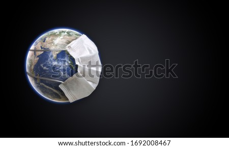 Planet Earth with face mask protect. World medical concept. Earth with face mask protect the globe. 3D Render Earth wearing Mask Isolated with Clipping path, Clipping Mask.