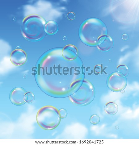 Soap bubbles and sky realistic background with sun shining vector illustration #1692041725