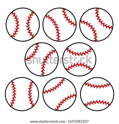 Set of white baseball ball with red stitches. Vector illustration with isolated elements