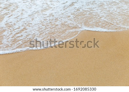 Clean fine sand beach and white wave background, nature concept, outdoor day light, summer concept background #1692085330
