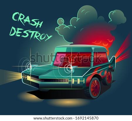 Sport vintage car illustration, created for game concept. Car wars game in smoke. Sport car ready to fight. Demolition, War, Gun, Destroy, Crash.