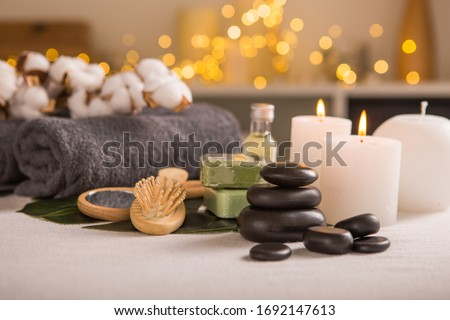 Spa composition with Christmas decoration. Holiday SPA treatment.  Zen and relax concept. #1692147613