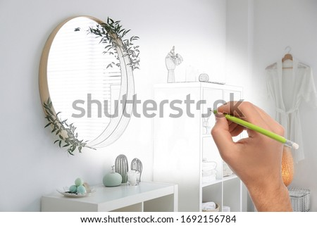 Man drawing bathroom interior design. Combination of photo and sketch #1692156784