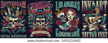 Vintage tattoo festivals posters set with skulls devil masks snakes tattoo machines dagger roses crossbones vector illustration #1692210682