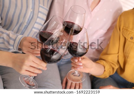 Young ladies clinking glasses of wine, closeup. Women's Day #1692223159