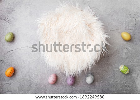Newborn digital background for baby photography. Easter eggs.