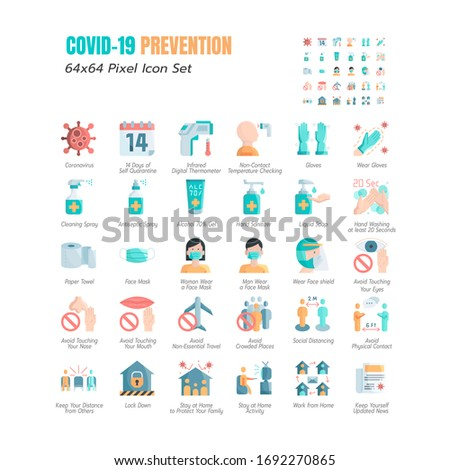 Simple Set of Coronavirus Prevention COVID-19 Flat Icons. such Icons as Gloves, Mask, Social Distancing, Stay Home, Quarantine, Avoid Close Contact, Work From Home, Paper Towel. 64x64 Pixel. Vector. #1692270865