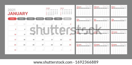 Wall calendar template for 2021 year. Planner diary in a minimalist style. Week Starts on Sunday. Monthly calendar ready for print. Royalty-Free Stock Photo #1692366889