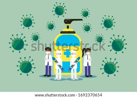 Vector Graphic Illustration of Doctor, Nurse, Scientist, and Other Paramedics Ready To Against Virus Diseases Attack, With Vaccines and Hand Sanitizer as Weapons. COVID-19 Coronavirus. #1692370654