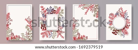 Tropical herb twigs, tree branches, flowers floral invitation cards set. Herbal corners romantic cards design with dandelion flowers, fern, lichen, olive tree leaves, savory twigs. #1692379519