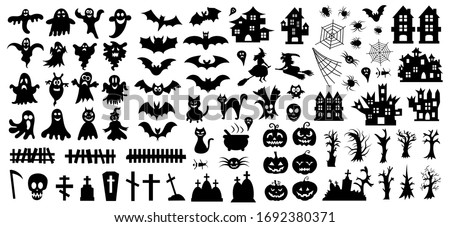 Set of silhouettes of Halloween on a white background. Vector illustration #1692380371