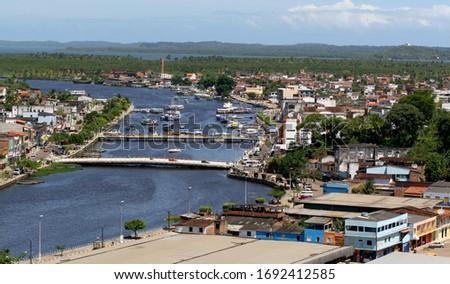 valenca, bahia / brazil - november 20, 2007: aerial view of the port of Rio Uma in the city of Valenca.      #1692412585