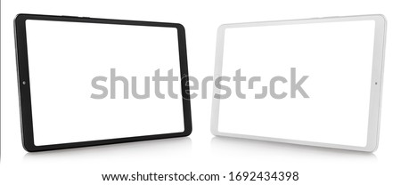 Set of black and white tablet computers, isolated on white background #1692434398