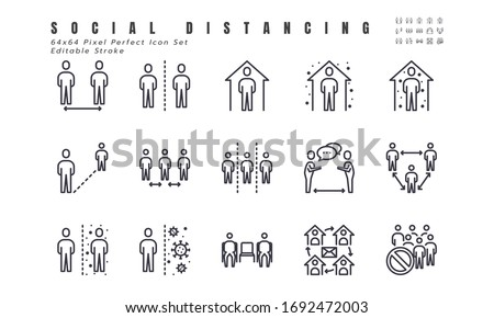 Simple Set of Social Distancing, Coronavirus Disease 2019 Covid-19 Line Icons such Icons as Stay Home, Quarantine, Work from Home, Avoid Crowded Place. 64x64 Pixel Perfect Editable Stroke Vector. #1692472003