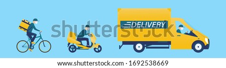 Coronavirus, covid 19 quarantine delivery. Online order and food or product express delivery concept. Courier with medical, protective, respiratory mask driving bicycle, bike, car. Vector illustration